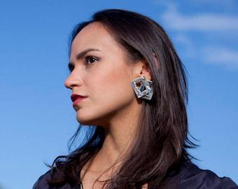Silver rectangular earrings