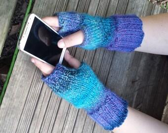 Purple and Teal Fingerless Gloves  - Purple Fingerless Mittens - Purple and Team Wrist Warmers - Handwarmers  - Fingerless
