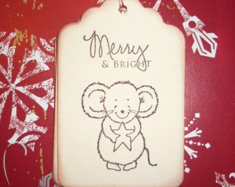 Christmas Gift Tags - Mouse with star Merry and Bright - Cute - Set of Six - Wish Tree Tags