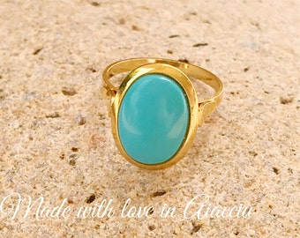 Woman ring gold vermeil and turquoise