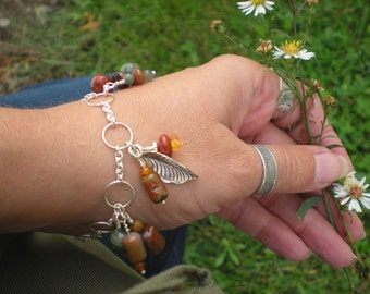 Harvest time bracelet, petrified wood, amber, jasper, sterling silver, fine silver leaf charm, unique jewelry by Grey Girl Designs on Etsy