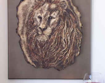 Sculpted Lion Ceramic Wood Wall Art Mixed Media Animal Clay Wall Sculpture Hanging