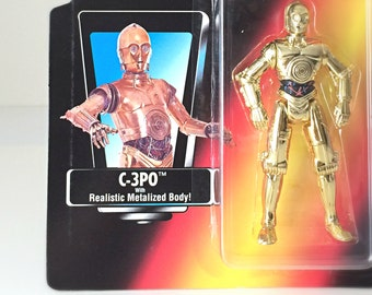 Star Wars Vintage Action Figure C-3PO, 1995 Star Wars Power of the Force Toy - Robot, Droid from the Original Trilogy in Unopened Packaging