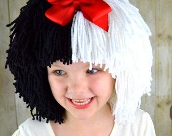 Cruella Deville Perücke Halloween-Kostüm für Mädchen, schwarz und weiß-Perücken