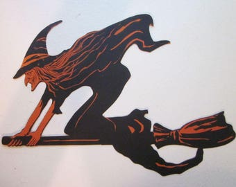 Vintage Halloween  Flying Witch with Lots of Points Diecut