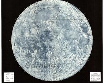 Vintage 1965 USAF Lunar Moon Map Poster Print
