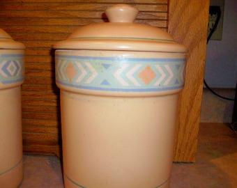 Treasure Craft Southwest   Flour Canister  Peach Diamond Aztec Shape Design