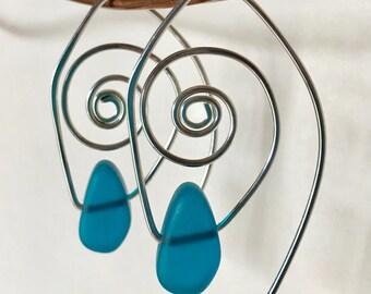 Spiral Hoops in Teal