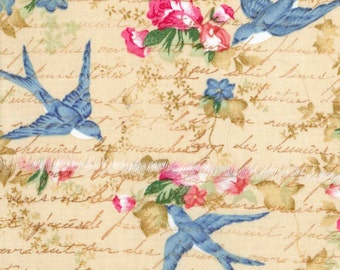 bird vintage french script swallows pink flowers hand made stamped ribbon shabby chic 3.5 wide x45    1014 . ....oohlala