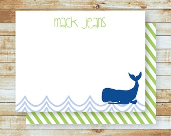 Whale / Personalized Flat Note Cards / Stationery / Kids