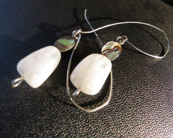 Handmade & Formed Earrings - Natural Nugget Moonstone and Abalone w/ Silver