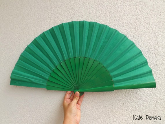 XL Green Hand Fan Ready To Customize See Choices in Listing Words Names Logo Artwork by Kate Dengra Strong Wood Fabric Flamenco Fan RTC
