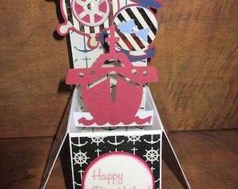 Handmade Greeting Card Envelope Pop up exploding box card US Navy , Nautical , Anchor & Ship wheel ,Happy Birthday!