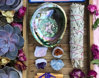 DELUXE Smudge kit // amethyst rose quartz citrine Blue Calcite // Sage // Palo santo & Abalone shell nag champa