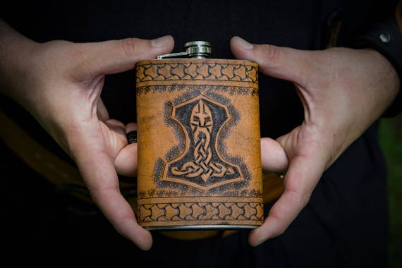 Viking Leather Flask - Mjolnir Thor's Hammer Design - 8 oz Flask