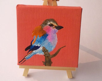 4x4 inch painting of a   Lilac Breasted Roller bird on a mini Canvas