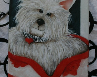 Westie Dog Print on wood 3.5 X 5 reproduction Rose