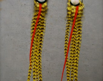 yellow grizzly feather earring FREE SHIPPING