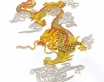 Asian Dragon Embroidered Patch Applique Sew or Iron