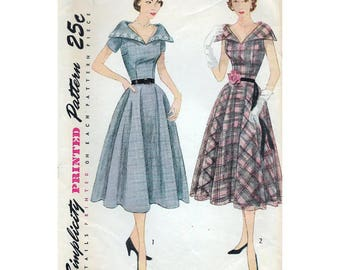 50s Simplicity dress sewing pattern, 3544, Bust 34 inches, vintage sewing patterns, pointed collar
