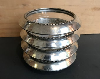 Sterling Silver and Pressed Glass Coasters, Set of 4, Vintage Signed Frank M. Whiting