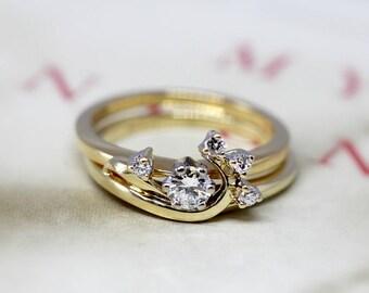 Vintage Jabel Diamond Wedding Ring Set, Retro Jabel Engagement Ring Set, 18k Yellow Gold Bridal Set, Traub Wedding Band, Swirl Wrap Ring