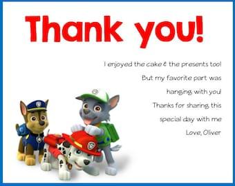Paw Patrol - Birthday Party Thank you Card