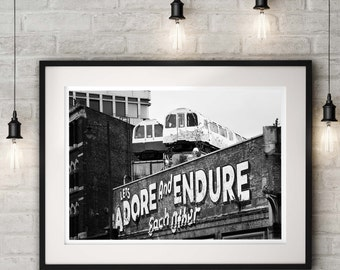Modern Street Art Print, black and white London photography 'Adore', modern wall art, photography gift, wedding present