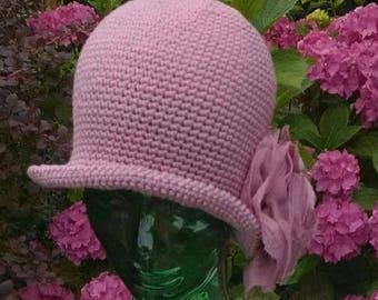 Crochet PATTERN - Crochet Hat Pattern - Crochet Cloche Pattern - 1920's Style Hat Pattern - Rose Embellished Hat Pattern