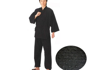 Black Samue Comfy Traditional Work Clothing Zen Buddhist Monk Casual Wear from Japan NS8929