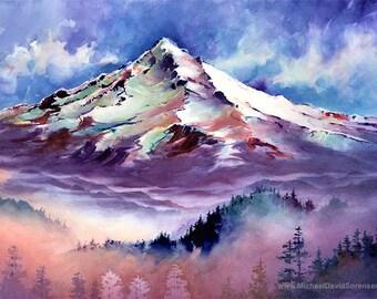 Mt. Hood, Oregon- Watercolor Painting Print by Michael David Sorensen. Mountain. Pacific Northwest Artwork. Blue Purple Trees. Mount Hood