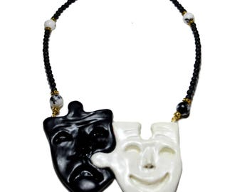 Theatre mask necklace, Tragedy mask necklace, Broadway necklace, Theatre necklace, Comedy Tragedy masks, Greek drama mask, Mothers day gift