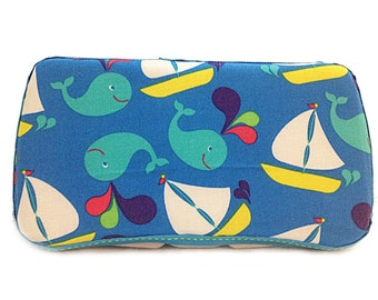 Custom Boutique Style Travel Wipe Case - Whales and Boats