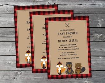 Baby Shower Invitation - Lumberjack, Buffalo Plaid - PRINT AT HOME - Customized