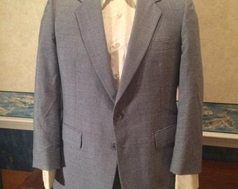 1970s Blue Blazer - Mens Snazzy Vintage Sport Coat from Fioravanti size 40R Medium