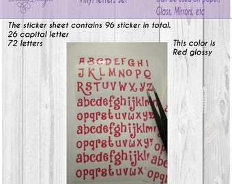 Funny letters, Alphabet stickers, vinyl letters, letter, Small abc vinyl , Valentine  letters, individual letters, scrapbook, letter decal