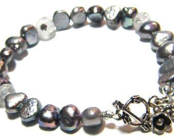 Freshwater Pearl Bracelet, Gray Pearl Bracelet, Bridesmaid Bracelet, Wedding Bracelet, Unique Bracelet, Real Pearl Bracelet