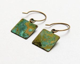 Sale verdigris earrings. Verdigris blue green patina brass small square earrings. Boho verdigris earrings. Patina brass square earrings.