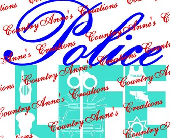 "SVG PNG DXF Eps Ai Wpc Cut file for Silhouette, Cricut, Pazzles, ScanNCut  -""Police Life 7 pointed star""  svg"
