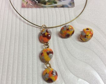 Pendant and earrings using Moretti glass orange red and gray