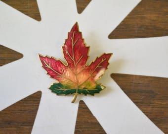 1960s Cloisonne Leaf Brooch