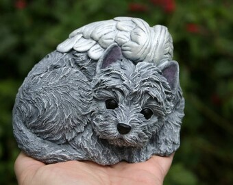 Yorkie Angel Dog Statue, Yorkshire Terrier or Silky Terrier Concrete Memorial Statue