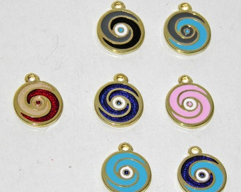 7 Pcs Oval Metal Evil Eyes - Gold Tone - With Enamel Color Blue, Red, Light Blue, Grey or Black Mixed