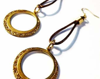 Genuine Leather Hoop EARRINGS Vintage Redesigned Gold Finish Hand Crafted Drop Dangle Earrings Gypsy BOHO Native Jewelry 2.75 in UNIQUE