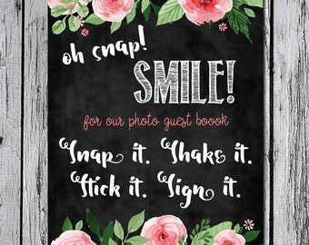 Photo Guest Book Sign Instant Download 8x10 Wedding Baby Shower Bohemian Pink Flowers Floral Photo Guestbook Chalkboard photos