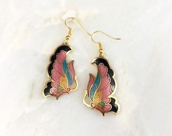 Vintage Cloisonne Butterfly Earrings