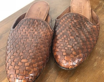 Sesto Meucci Woven Leather Mule Slides (size 7 - dark brown)