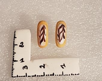 Zipper Yarrow in polymer clay earrings