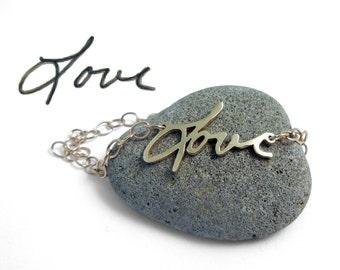 Gold Handwriting Bracelet | Custom Handwriting Gold Bracelet | Gold Love Bracelet