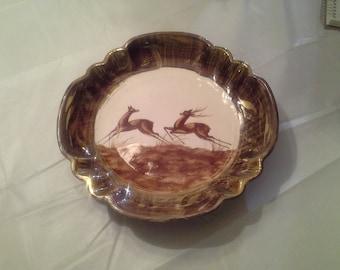 Vintage Hubert Bequet Belgium Deer Motif Pottery